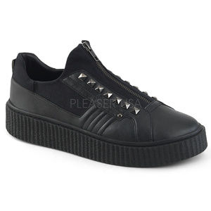 Mens Goth Studded Zipper Sneaker Punk Gothic Shoes